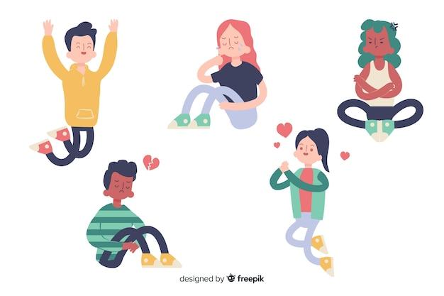 Набор эмоций молодых людей