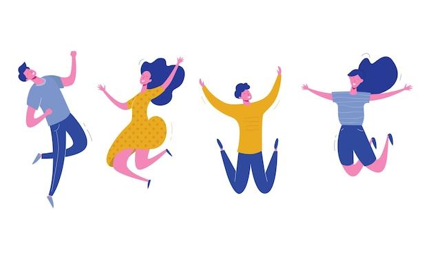 흰색 바탕에 점프하는 젊은 사람들의 집합입니다. 행복한 남성 및 여성 캐릭터, 청소년, 학생과 함께 세련된 현대. 파티, 스포츠, 댄스 및 우정 팀 개념