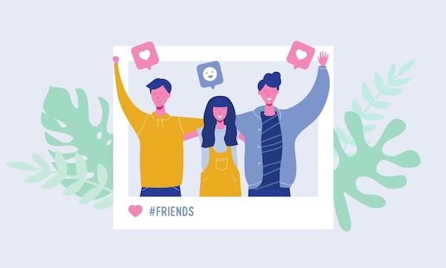 소셜 네트워크에서 사진을 만드는 젊은 사람들의 집합입니다. 행복한 남성과 여성 캐릭터, 청소년, 학생. 우정 팀 개념, 추종자 좋아요, 이야기