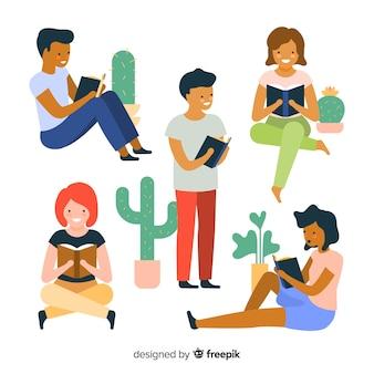 読んでいる若者のセット