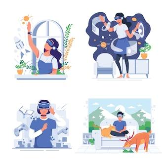 Множество молодых людей используют очки vr с удовольствием дома в стиле мультипликационного персонажа, плоская иллюстрация дизайна
