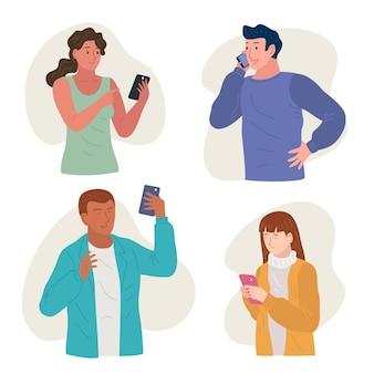 스마트 폰을 사용하는 젊은 사람들의 집합