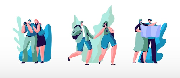 배낭, 사진 카메라 및 해외 여행지도가있는 젊은 사람들의 집합입니다. 만화 평면 그림