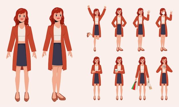 若いかわいい実業家サラリーマンポーズイラストベクトル漫画アニメーションデザインのセット