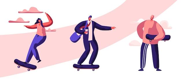 젊은 스케이트 보더 세트 활동적인 남자와 여자 스포츠 익스트림, 여름 레저 활동. 만화 평면 그림