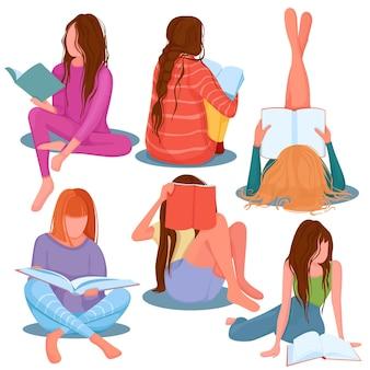 本を読んで若いスタイリッシュな女の子のセット