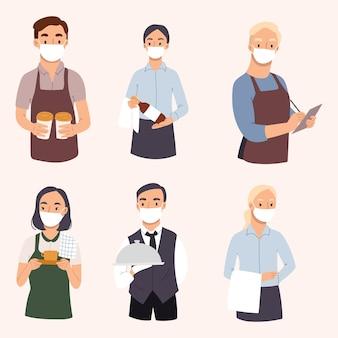 訪問者にサービスを提供する若いウェイターとウェイトレスのセット。レストランのスタッフのキャラクターは、ウイルスから保護するためにフェイスマスクでデザインしています。手描きイラスト。