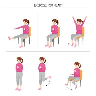 健康のために立って体を動かす若い女性のセット、健康な心臓のための運動