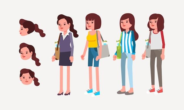 さまざまな服や髪型の若い女性キャラクターのセットはトートバッグをもたらします