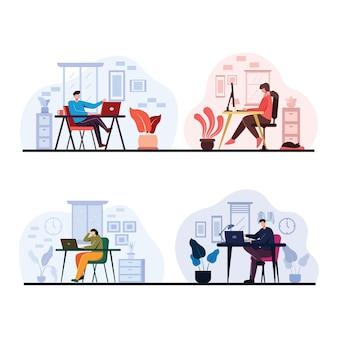 若い労働者のセットは、オフィスで働くか、漫画のキャラクター、フラットなイラストで自宅で働くためにコンピュータのデスクトップまたはラップトップコンピュータを使用します