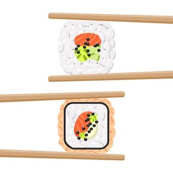 箸でおいしい色の寿司ロールのセット