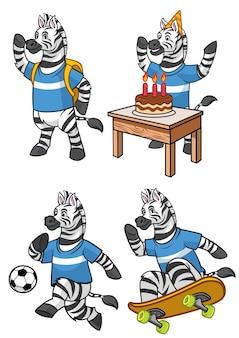 Набор зебры мультфильма в различной деятельности