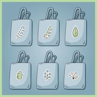 무 폐기물 코튼 백 세트. 매일 자신의 가방을 지참하십시오. 가방의 생태 및 플라스틱 무료 수집. 녹색으로 이동