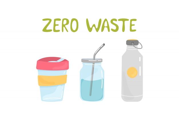 廃棄物ゼロ要素のセット Premiumベクター