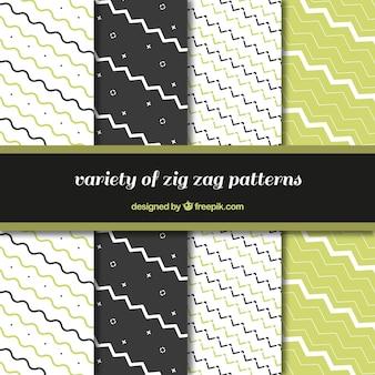 녹색 세부 사항을 가진 지그재그 패턴의 집합