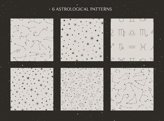 星座と占星術のサインのセットは、最小限のトレンディなスタイルで白い背景にシームレスなパターンを示します。ベクトル宇宙の背景。星占いはテクスチャをシンボルします。