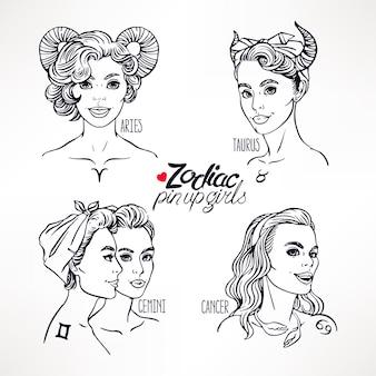 Набор знаков зодиака как девушки в стиле пин-ап. рисованная иллюстрация