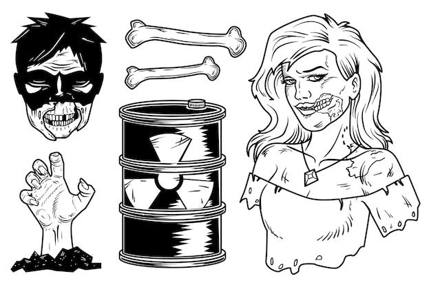 Набор элементов зомби