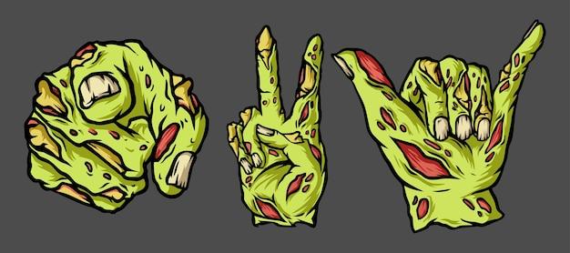 Набор рук зомби, изолированные на сером