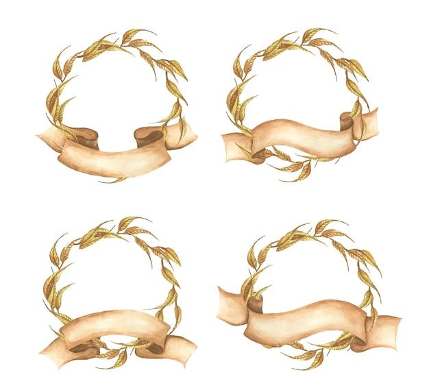 リボン付き秋の花輪のセット秋の葉結婚式、水彩イラストに最適
