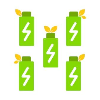 재생 에너지의 상징으로 배터리와 잎을 설정합니다. 친환경 에너지 아이콘 개념
