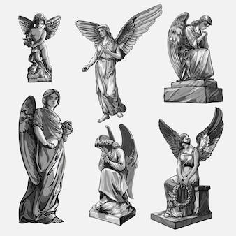 날개를 가진 우는기도 천사 조각품을 시작하십시오. 천사의 동상의 흑백 그림.
