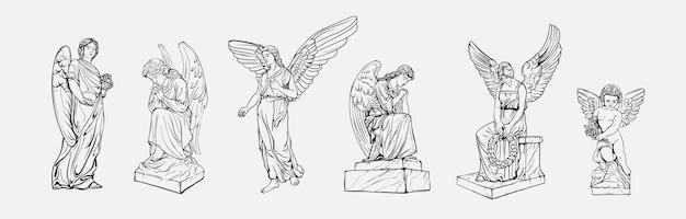 날개를 가진 우는기도 천사 조각품을 시작하십시오.