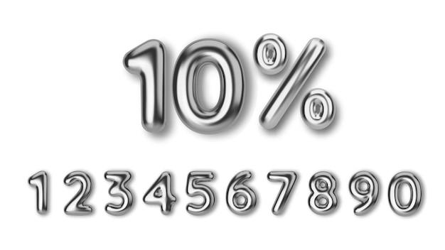 Сделайте скидку на распродажу из реалистичных 3d серебряных шаров. номер в виде серебряных воздушных шаров. шаблон для продуктов, рекламы, веб-баннеров, листовок, сертификатов и открыток.