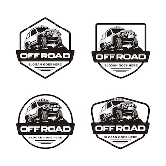 Set of off road car logo template