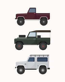 Set of off-road suv car. off road vehicles