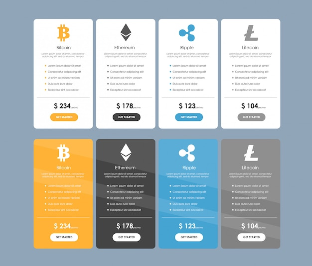 Set of offer tariffs for cryptocurrency operations. set of pricing table, order, box, button, list with plan for website in flat design.