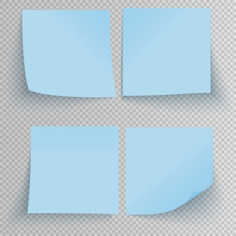 Set of office blue sticky stickers with shadow isolated on transparent.