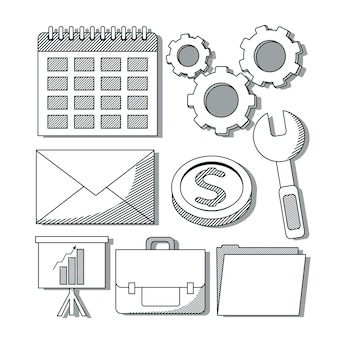 Set of office and business elements