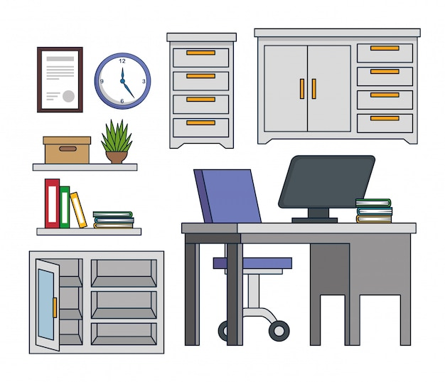Set office cabinet with computer and books in the desk