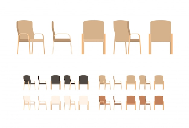 Set of office chairs in flat cartoon style.