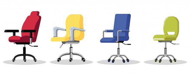 Set office chairs with casters. modern desk height adjustable armchair. side view. furniture item for workplace at company or at home.   icon  on white background.