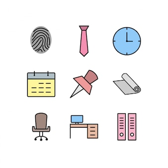 Set of office icons isolated on white background