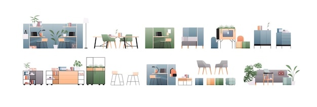 Set office interior furniture different cabinet elements collection horizontal flat illustration