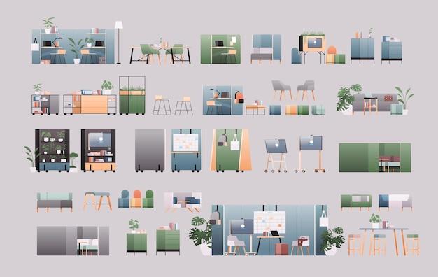설정 사무실 인테리어 가구 다른 캐비닛 요소 컬렉션 가로 평면 그림