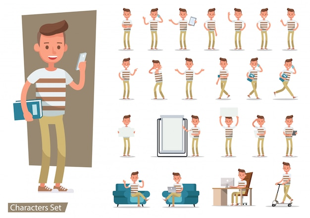 Set of office man worker character.