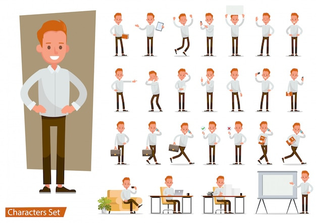 Set of office man worker character