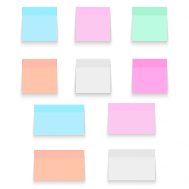 Set of office paper sheets and sticky stickers