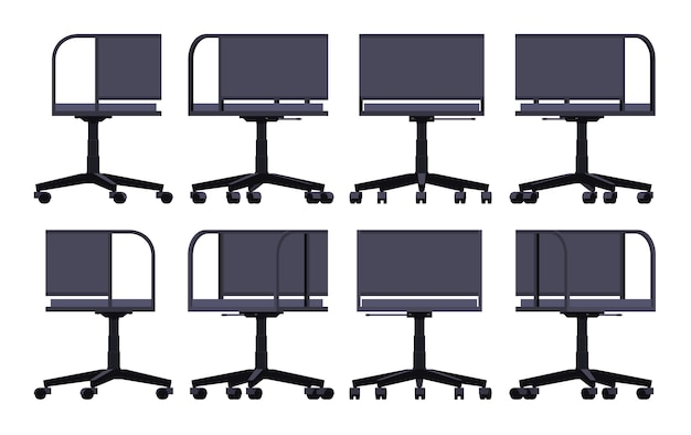 Set of the office spinning chairs