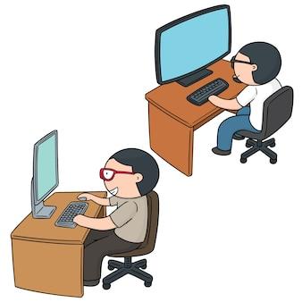 Set of office worker