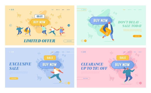 Set oft advertising campaign landing page