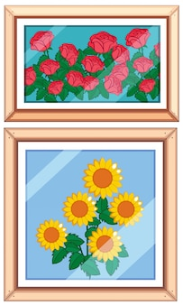 Set og beautiful flower frame