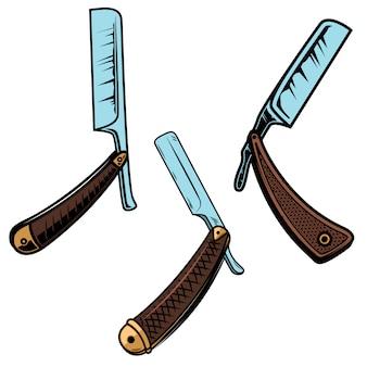 Набор бритв для парикмахерских в стиле ретро. элемент для плаката, карты, баннера, знака, эмблемы. иллюстрация