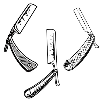 Set og retro style barber razors.  element for poster, card, banner, sign, emblem.  illustration