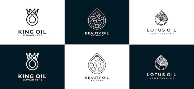 Set of oil logo collection