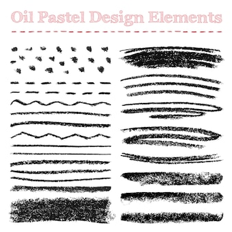 Set of oil pastel brush strokes and design elements